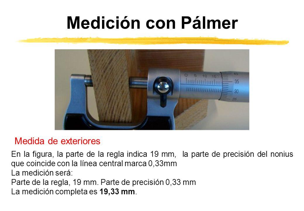 Medición con Pálmer Medida de exteriores En la figura, la parte de la regla indica 19 mm, la parte de precisión del nonius que coincide con la línea central marca 0,33mm La medición será: Parte de la regla, 19 mm.