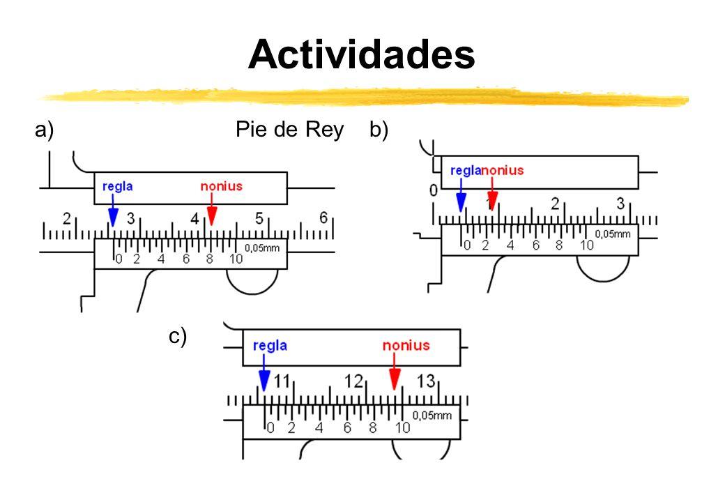 Actividades a)b) c) Pie de Rey
