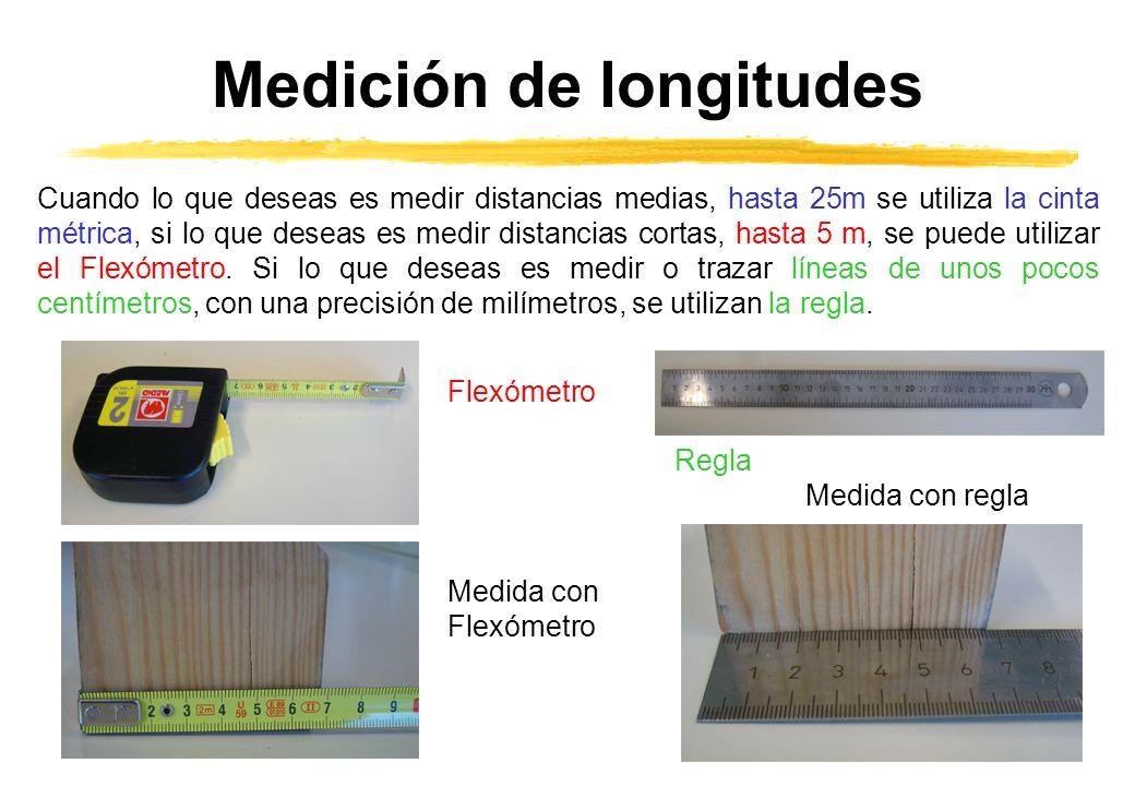 Medición de longitudes Cuando lo que deseas es medir distancias medias, hasta 25m se utiliza la cinta métrica, si lo que deseas es medir distancias cortas, hasta 5 m, se puede utilizar el Flexómetro.