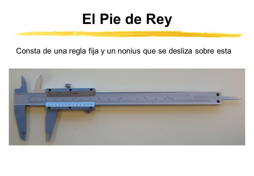 Precisión del Pie de Rey La regla está divida en divisiones iguales, normalmente de un milímetro, también puede estar dividida en octavos de pulgadas.