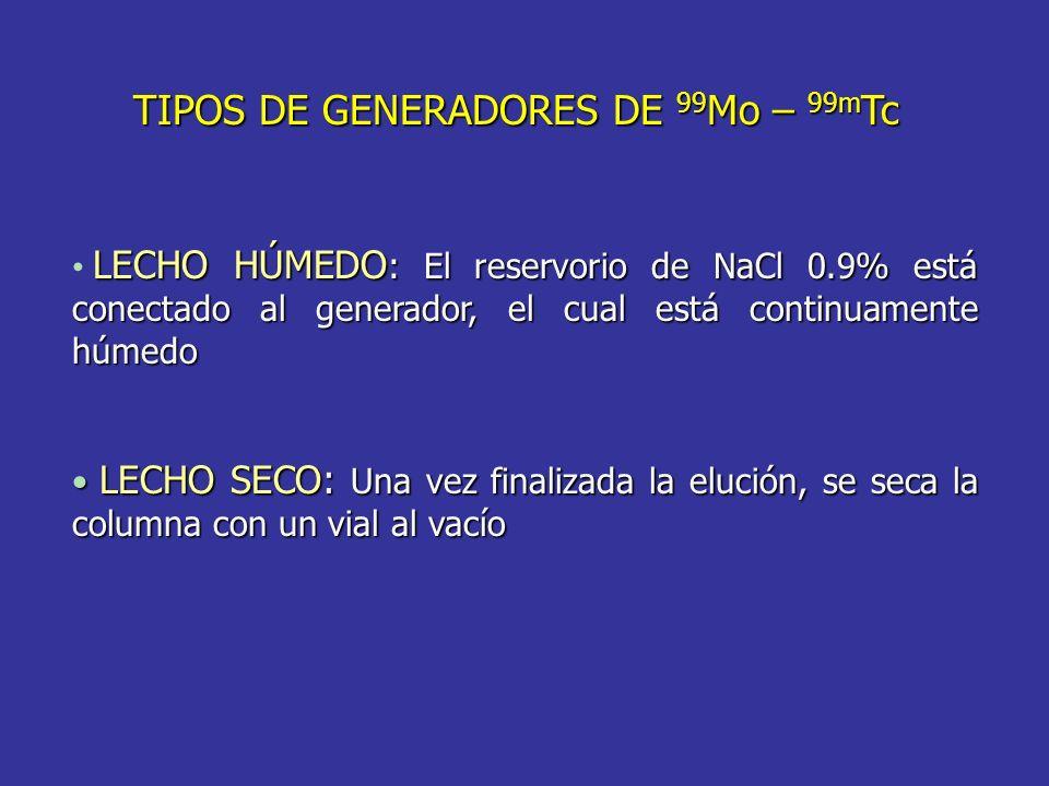 TIPOS DE GENERADORES DE 99 Mo – 99m Tc LECHO HÚMEDO : El reservorio de NaCl 0.9% está conectado al generador, el cual está continuamente húmedo LECHO SECO: Una vez finalizada la elución, se seca la columna con un vial al vacío LECHO SECO: Una vez finalizada la elución, se seca la columna con un vial al vacío