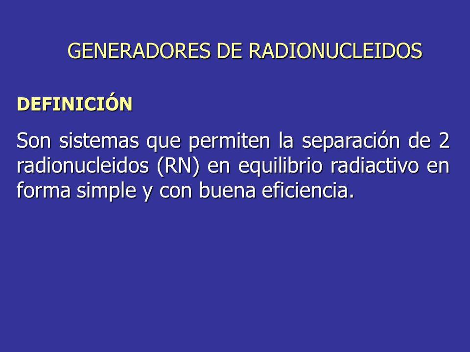 DEFINICIÓN Son sistemas que permiten la separación de 2 radionucleidos (RN) en equilibrio radiactivo en forma simple y con buena eficiencia. GENERADOR