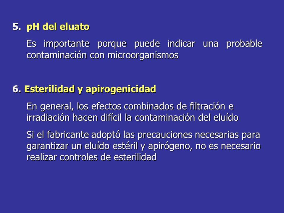 5.pH del eluato Es importante porque puede indicar una probable contaminación con microorganismos 6. Esterilidad y apirogenicidad En general, los efec