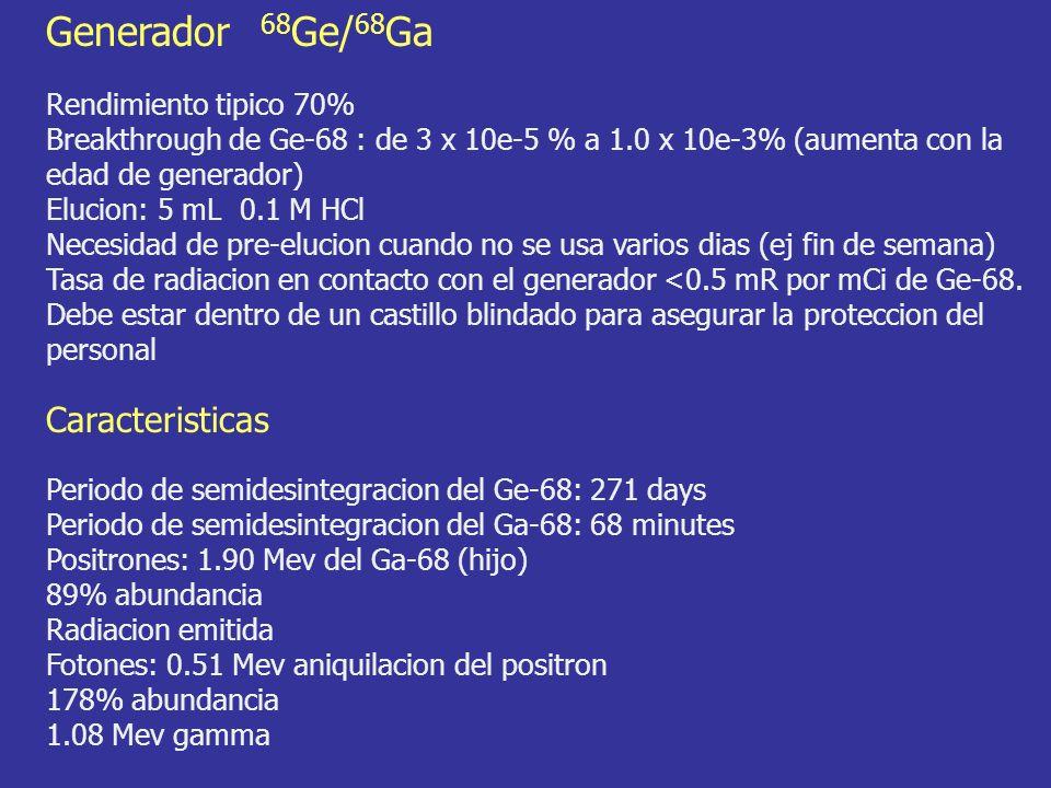 Rendimiento tipico 70% Breakthrough de Ge-68 : de 3 x 10e-5 % a 1.0 x 10e-3% (aumenta con la edad de generador) Elucion: 5 mL 0.1 M HCl Necesidad de pre-elucion cuando no se usa varios dias (ej fin de semana) Tasa de radiacion en contacto con el generador <0.5 mR por mCi de Ge-68.