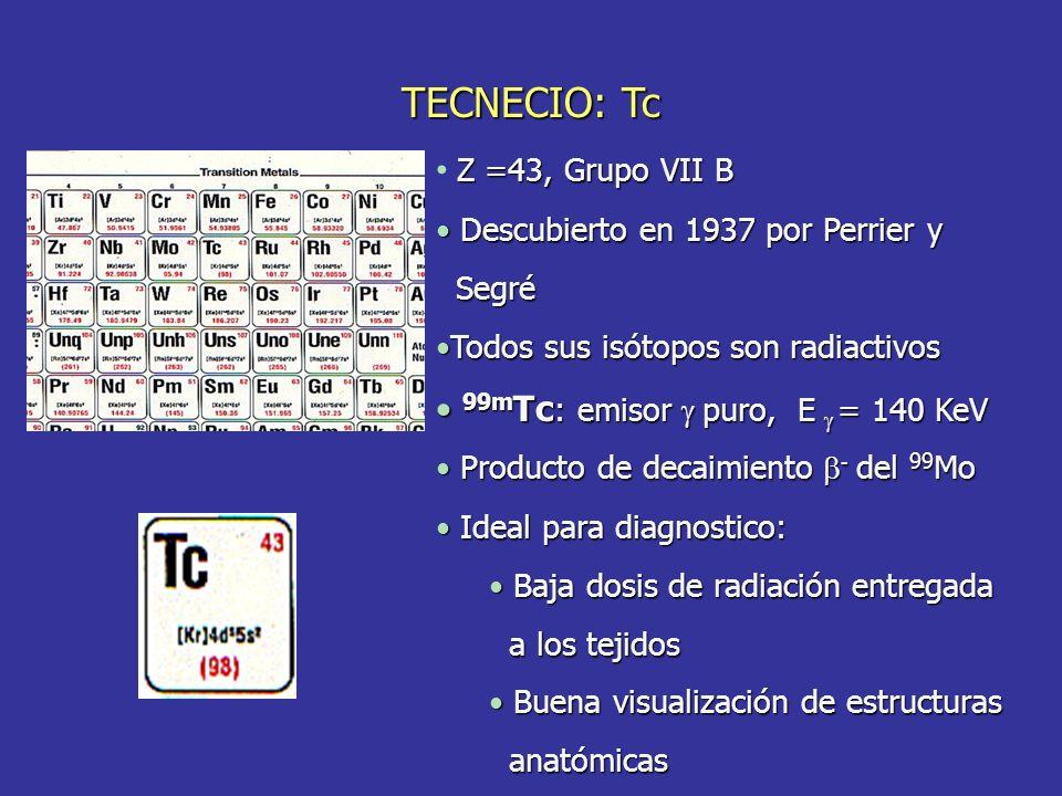 TECNECIO: Tc Z =43, Grupo VII B Descubierto en 1937 por Perrier y Descubierto en 1937 por Perrier y Segré Segré Todos sus isótopos son radiactivosTodos sus isótopos son radiactivos 99m Tc : emisor puro, E = 140 KeV 99m Tc : emisor puro, E = 140 KeV Producto de decaimiento - del 99 Mo Producto de decaimiento - del 99 Mo Ideal para diagnostico: Ideal para diagnostico: Baja dosis de radiación entregada Baja dosis de radiación entregada a los tejidos a los tejidos Buena visualización de estructuras Buena visualización de estructuras anatómicas anatómicas