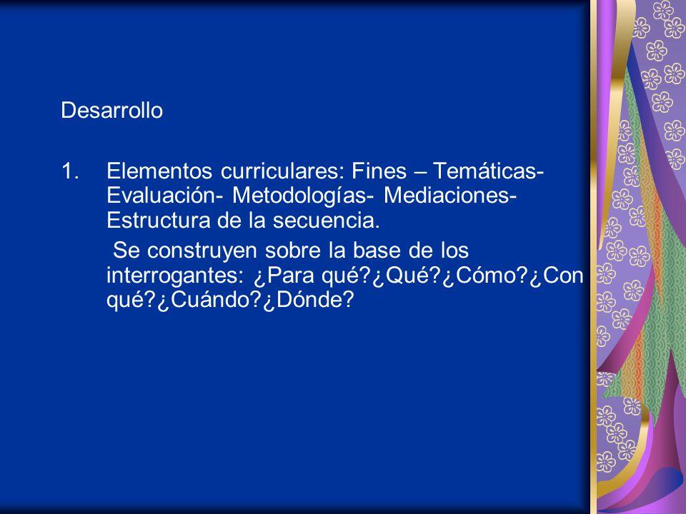 Desarrollo 1.Elementos curriculares: Fines – Temáticas- Evaluación- Metodologías- Mediaciones- Estructura de la secuencia.