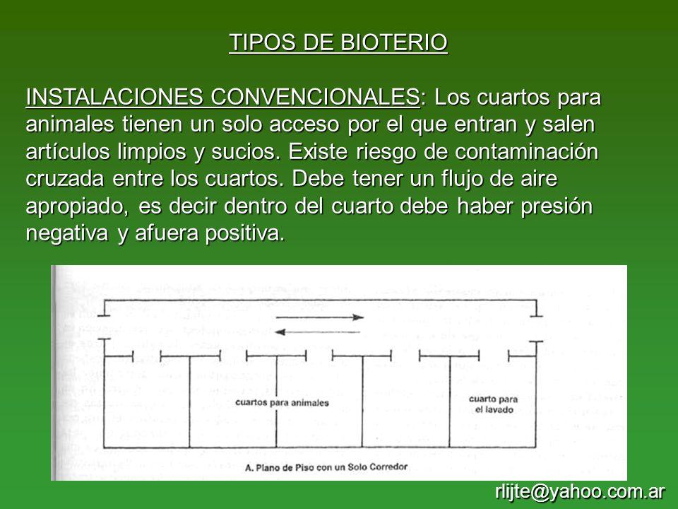 TIPOS DE BIOTERIO INSTALACIONES CONVENCIONALES: Los cuartos para animales tienen un solo acceso por el que entran y salen artículos limpios y sucios.