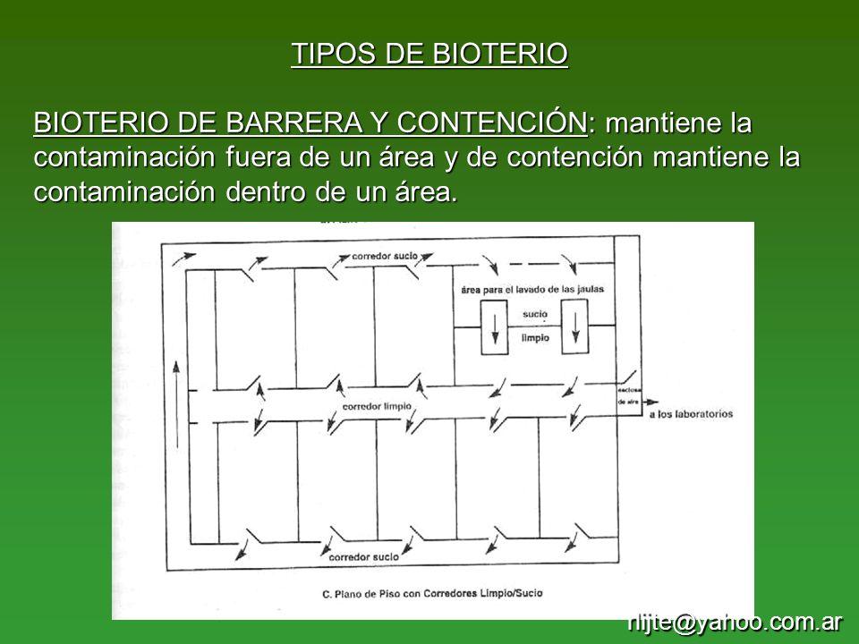 TIPOS DE BIOTERIO BIOTERIO DE BARRERA Y CONTENCIÓN: mantiene la contaminación fuera de un área y de contención mantiene la contaminación dentro de un