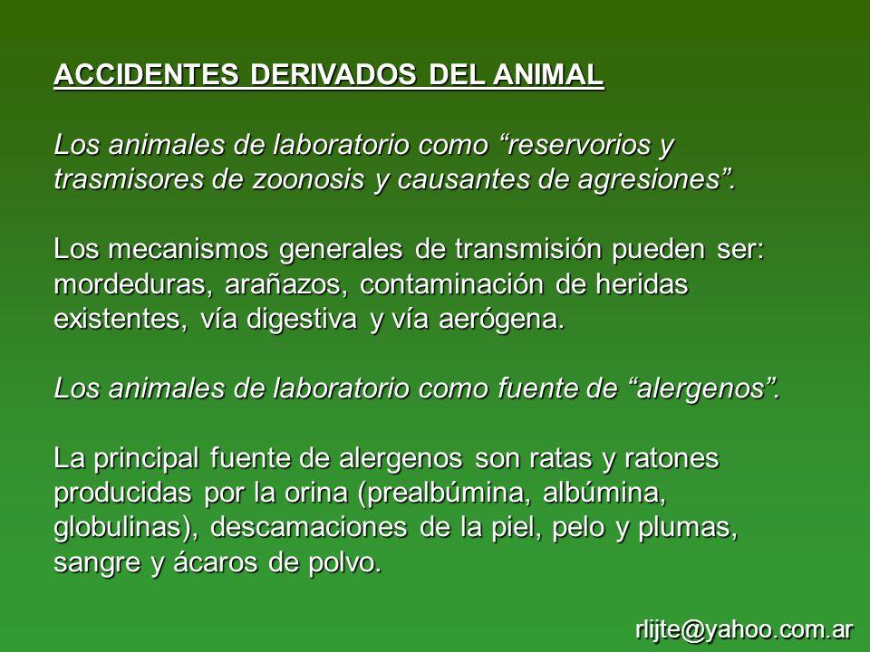 ACCIDENTES DERIVADOS DEL ANIMAL Los animales de laboratorio como reservorios y trasmisores de zoonosis y causantes de agresiones. Los mecanismos gener