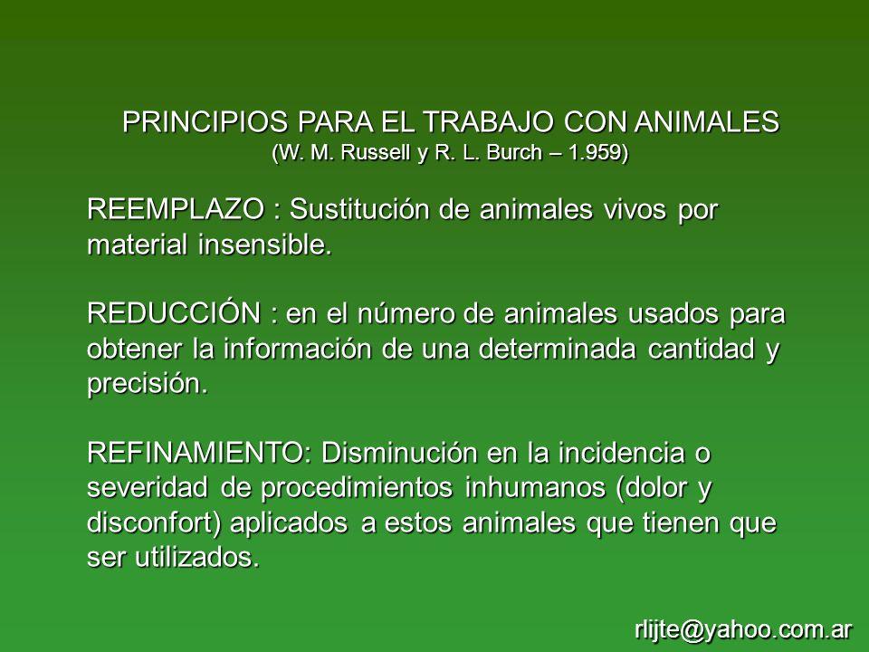 PRINCIPIOS PARA EL TRABAJO CON ANIMALES (W. M. Russell y R. L. Burch – 1.959) REEMPLAZO : Sustitución de animales vivos por material insensible. REDUC