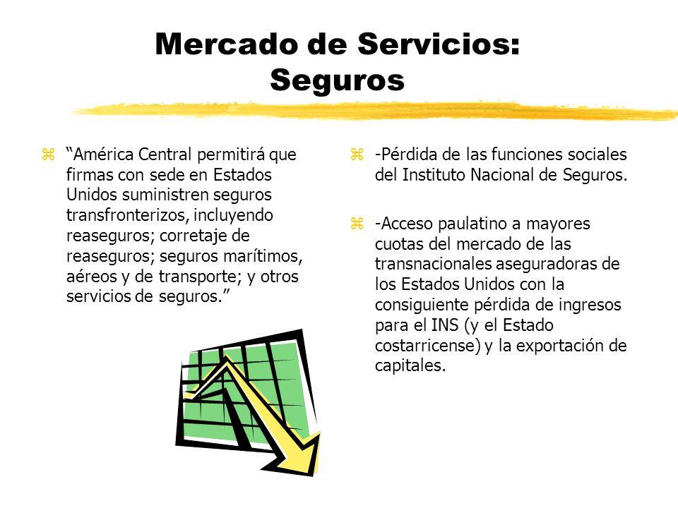 Mercado de Servicios: Banca y Finanzas zLos proveedores estadounidenses de servicios financieros tienen pleno derecho a establecer filiales, empresas conjuntas y sucursales de bancos y compañías aseguradoras.