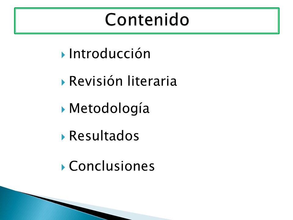 Introducción Revisión literaria Metodología Resultados Conclusiones