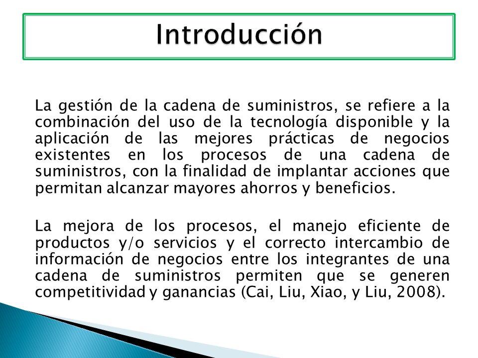 La gestión de la cadena de suministros, se refiere a la combinación del uso de la tecnología disponible y la aplicación de las mejores prácticas de ne