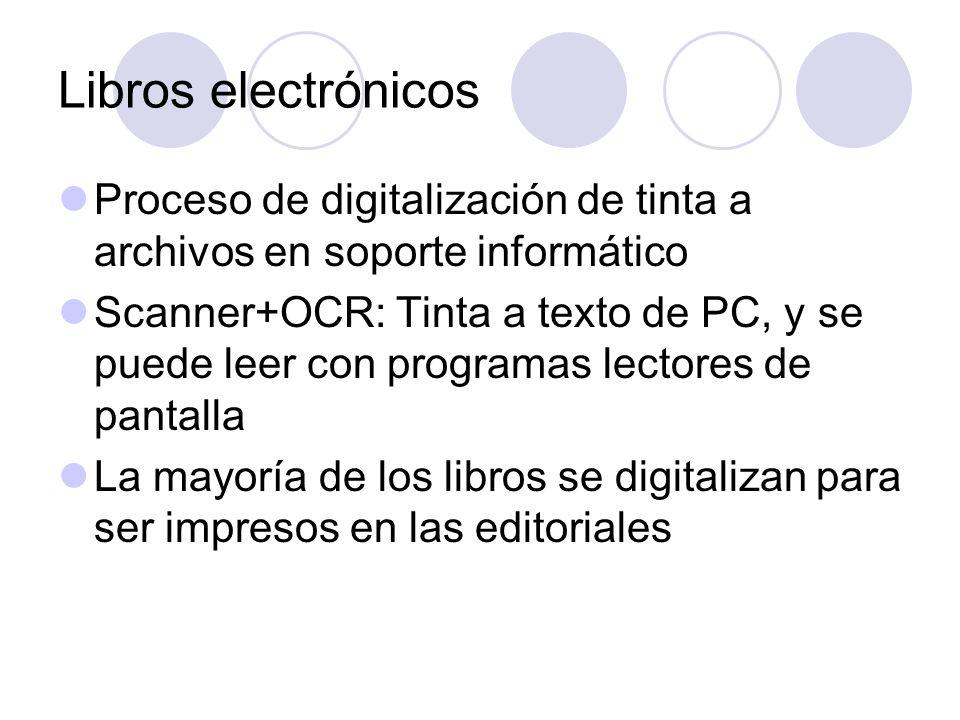 Libros electrónicos Proceso de digitalización de tinta a archivos en soporte informático Scanner+OCR: Tinta a texto de PC, y se puede leer con program