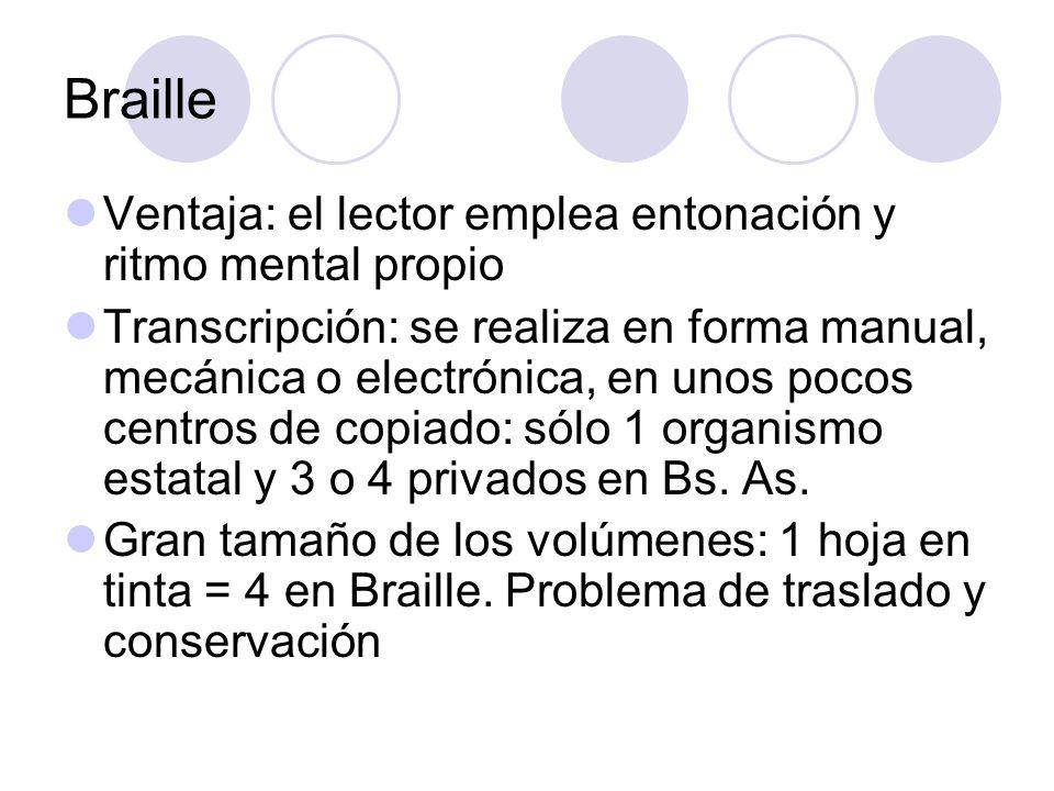 Braille Ventaja: el lector emplea entonación y ritmo mental propio Transcripción: se realiza en forma manual, mecánica o electrónica, en unos pocos ce