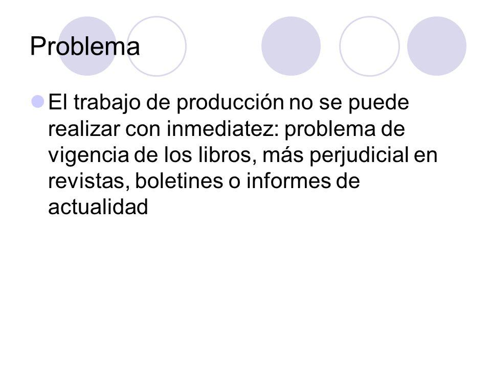 Problema El trabajo de producción no se puede realizar con inmediatez: problema de vigencia de los libros, más perjudicial en revistas, boletines o in