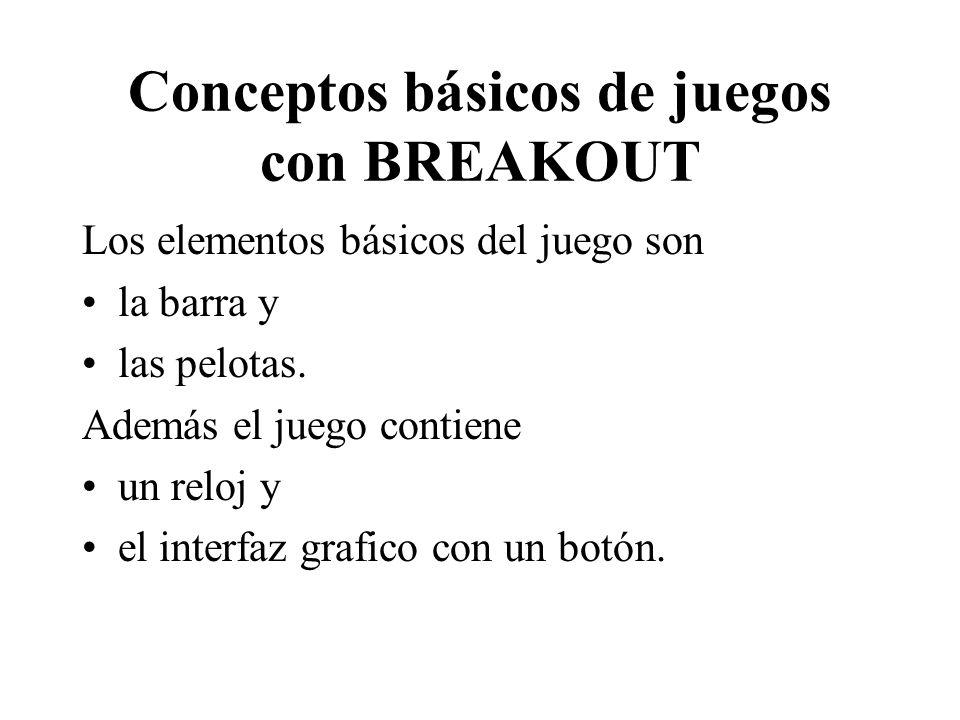 Conceptos básicos de juegos con BREAKOUT Los elementos básicos del juego son la barra y las pelotas. Además el juego contiene un reloj y el interfaz g