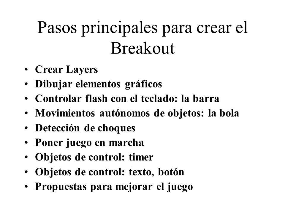 Pasos principales para crear el Breakout Crear Layers Dibujar elementos gráficos Controlar flash con el teclado: la barra Movimientos autónomos de obj