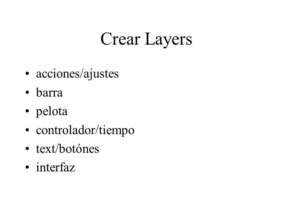 Crear Layers acciones/ajustes barra pelota controlador/tiempo text/botónes interfaz