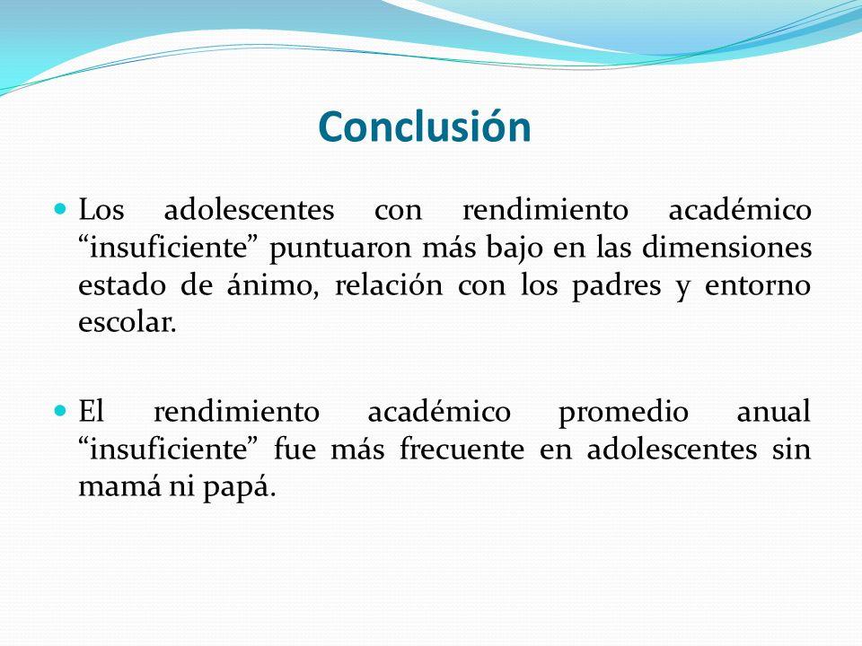Los adolescentes con rendimiento académico insuficiente puntuaron más bajo en las dimensiones estado de ánimo, relación con los padres y entorno escol