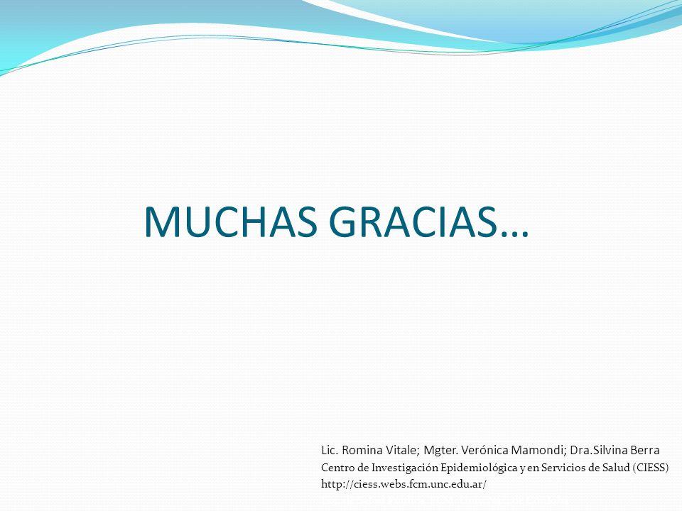 MUCHAS GRACIAS… Lic. Romina Vitale; Mgter. Verónica Mamondi; Dra.Silvina Berra Centro de Investigación Epidemiológica y en Servicios de Salud (CIESS)