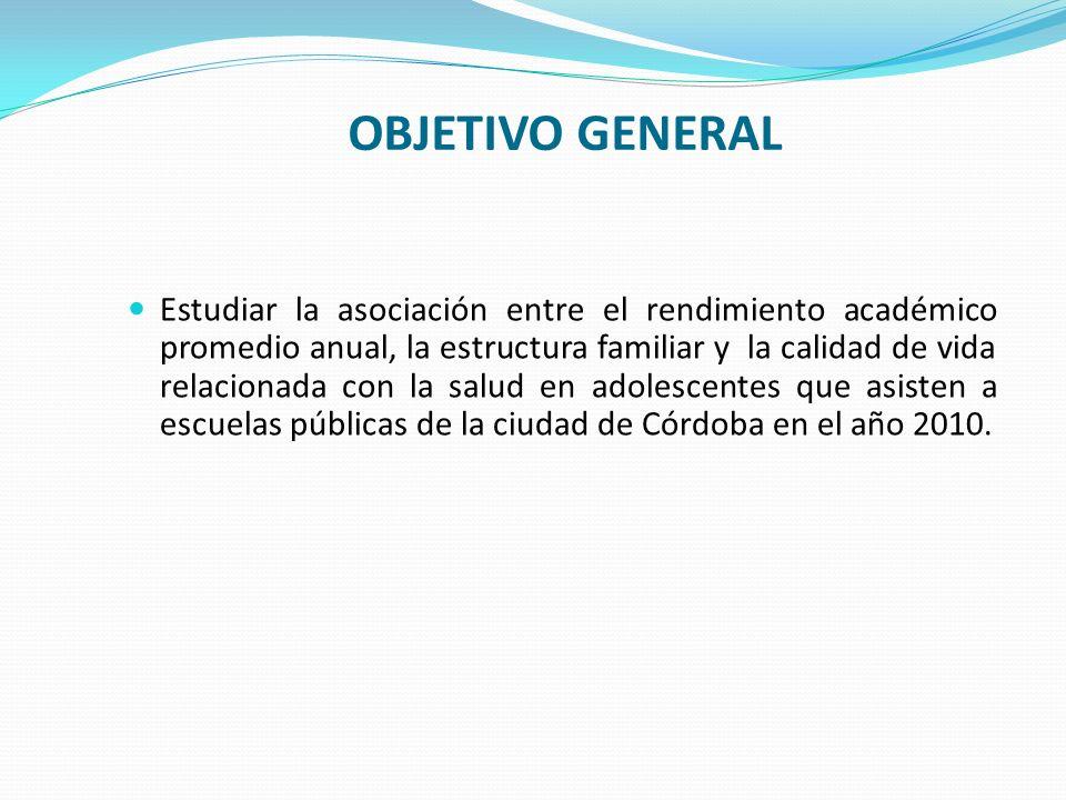 OBJETIVO GENERAL Estudiar la asociación entre el rendimiento académico promedio anual, la estructura familiar y la calidad de vida relacionada con la