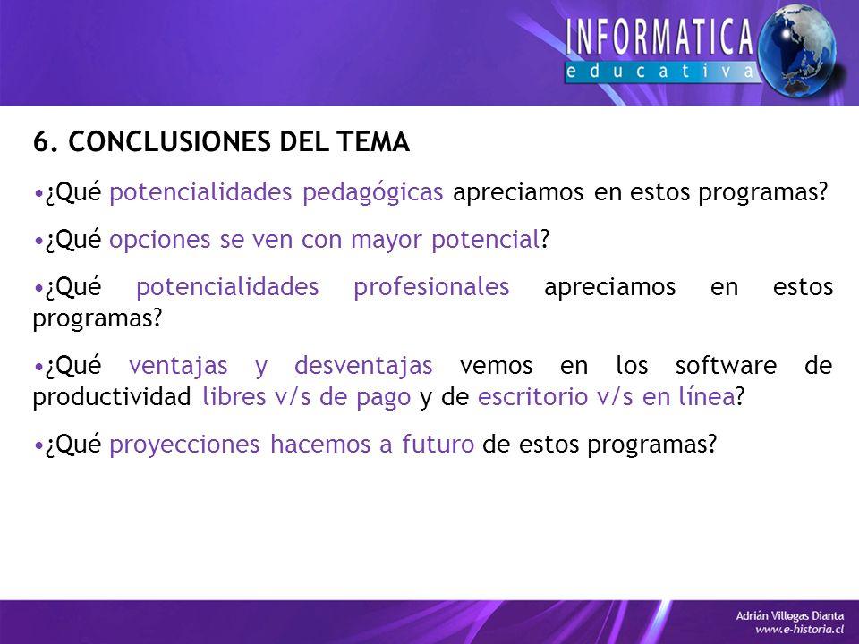 6. CONCLUSIONES DEL TEMA ¿Qué potencialidades pedagógicas apreciamos en estos programas.