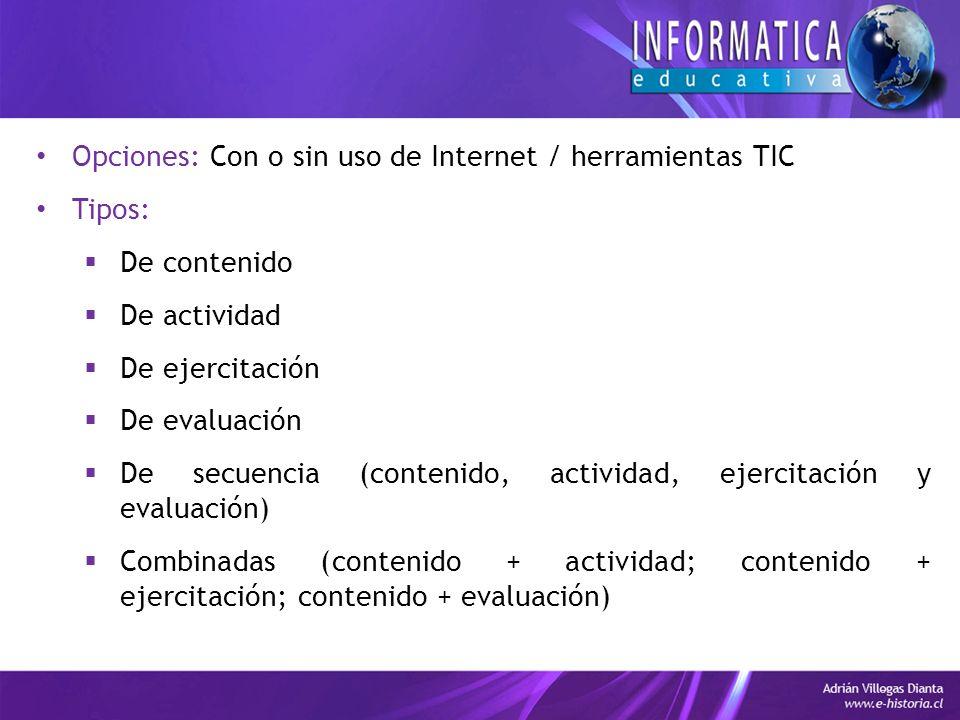 Opciones: Con o sin uso de Internet / herramientas TIC Tipos: De contenido De actividad De ejercitación De evaluación De secuencia (contenido, actividad, ejercitación y evaluación) Combinadas (contenido + actividad; contenido + ejercitación; contenido + evaluación)