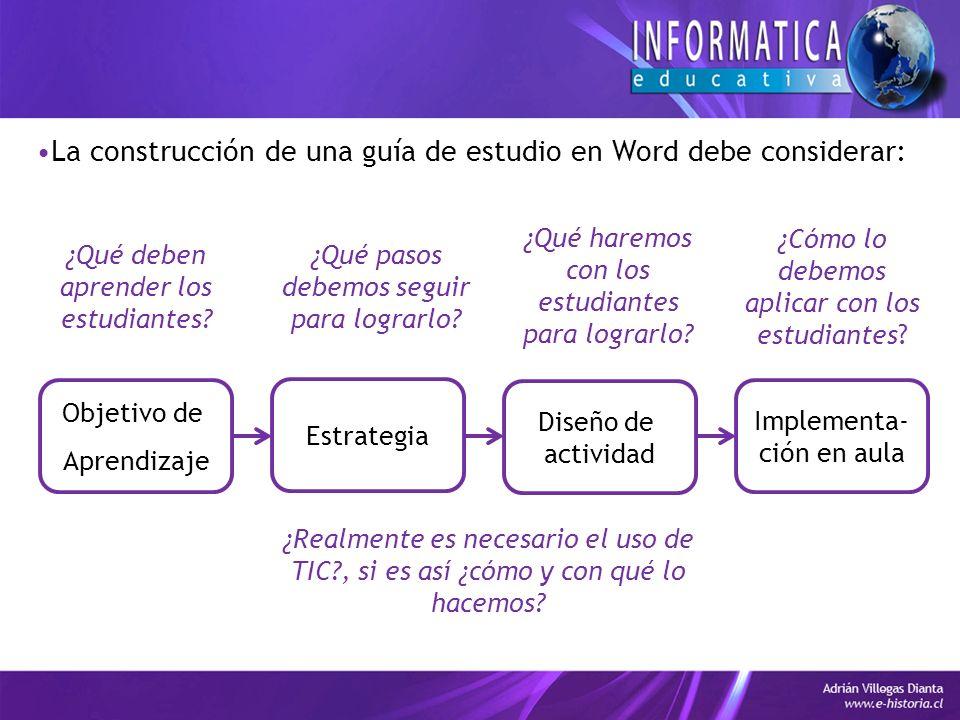 La construcción de una guía de estudio en Word debe considerar: Objetivo de Aprendizaje Estrategia Diseño de actividad Implementa- ción en aula ¿Qué deben aprender los estudiantes.