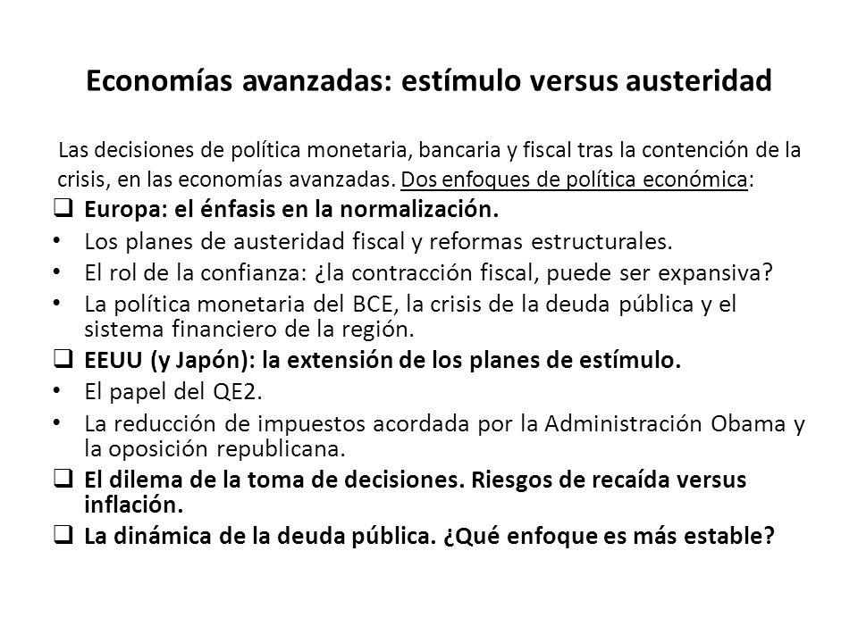 Economías avanzadas: estímulo versus austeridad Las decisiones de política monetaria, bancaria y fiscal tras la contención de la crisis, en las economías avanzadas.