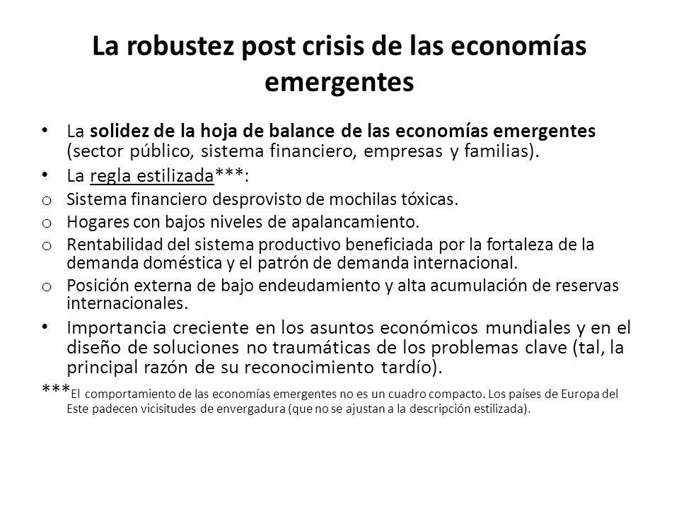 La robustez post crisis de las economías emergentes La solidez de la hoja de balance de las economías emergentes (sector público, sistema financiero, empresas y familias).