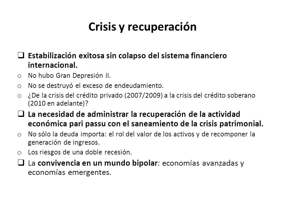Crisis y recuperación Estabilización exitosa sin colapso del sistema financiero internacional.