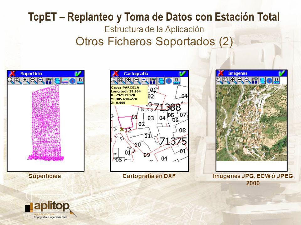TcpET – Replanteo y Toma de Datos con Estación Total Estructura de la Aplicación Otros Ficheros Soportados (2) SuperficiesCartografía en DXFImágenes J