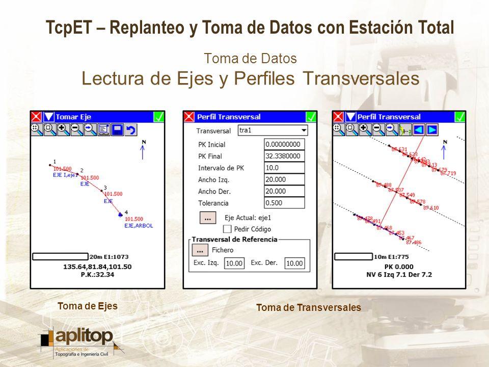 TcpET – Replanteo y Toma de Datos con Estación Total Toma de Datos Lectura de Ejes y Perfiles Transversales Toma de Ejes Toma de Transversales