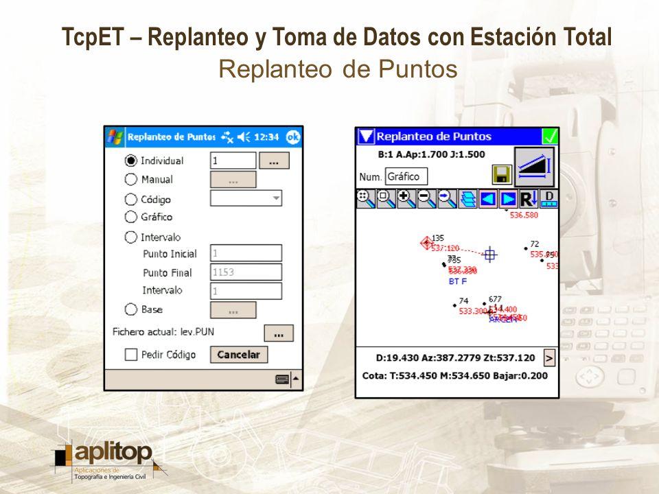 TcpET – Replanteo y Toma de Datos con Estación Total Replanteo de Puntos