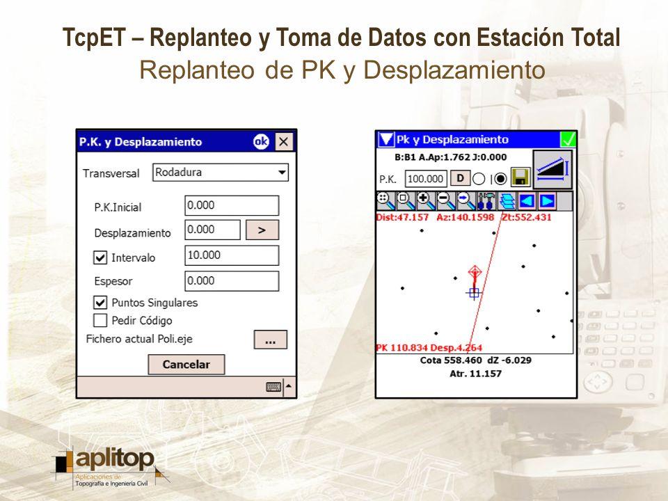 TcpET – Replanteo y Toma de Datos con Estación Total Replanteo de PK y Desplazamiento