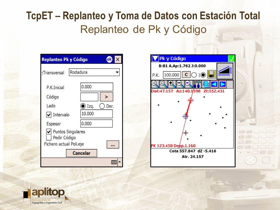 TcpET – Replanteo y Toma de Datos con Estación Total Replanteo de Pk y Código
