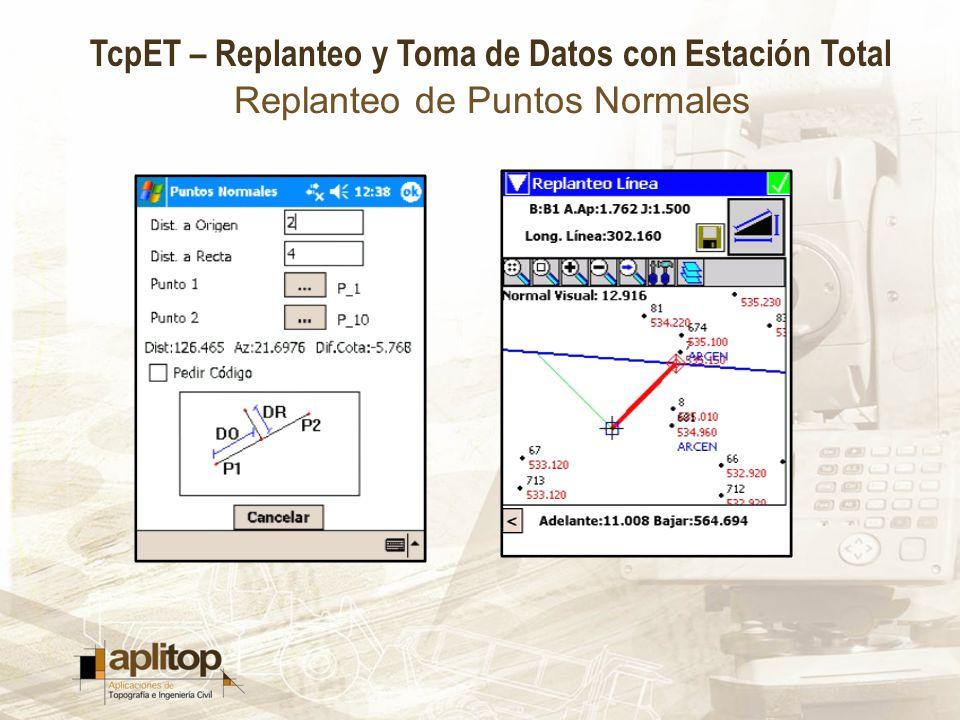 TcpET – Replanteo y Toma de Datos con Estación Total Replanteo de Puntos Normales