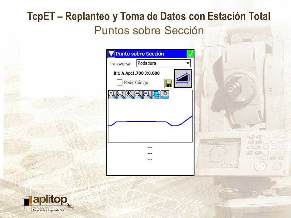 TcpET – Replanteo y Toma de Datos con Estación Total Puntos sobre Sección