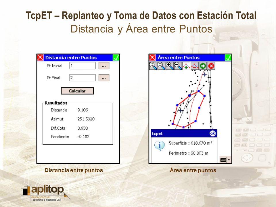 TcpET – Replanteo y Toma de Datos con Estación Total Distancia y Área entre Puntos Distancia entre puntosÁrea entre puntos