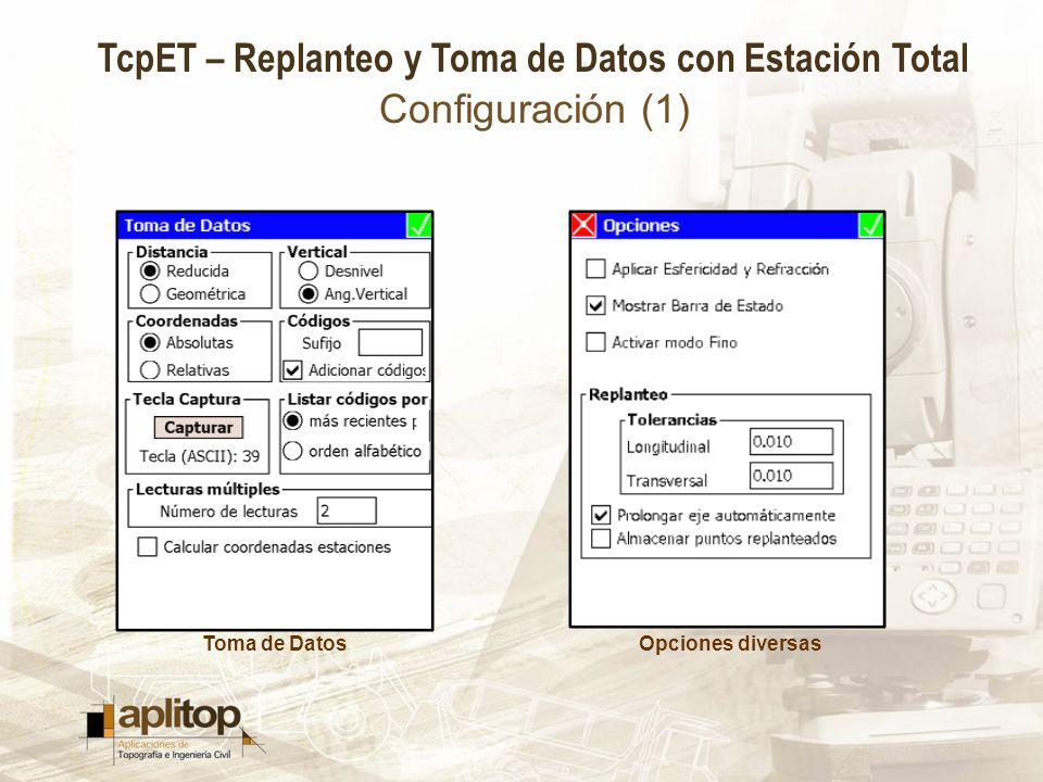 TcpET – Replanteo y Toma de Datos con Estación Total Configuración (1) Toma de DatosOpciones diversas