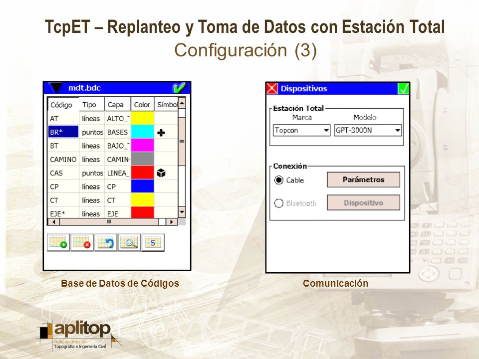 TcpET – Replanteo y Toma de Datos con Estación Total Configuración (3) Base de Datos de CódigosComunicación