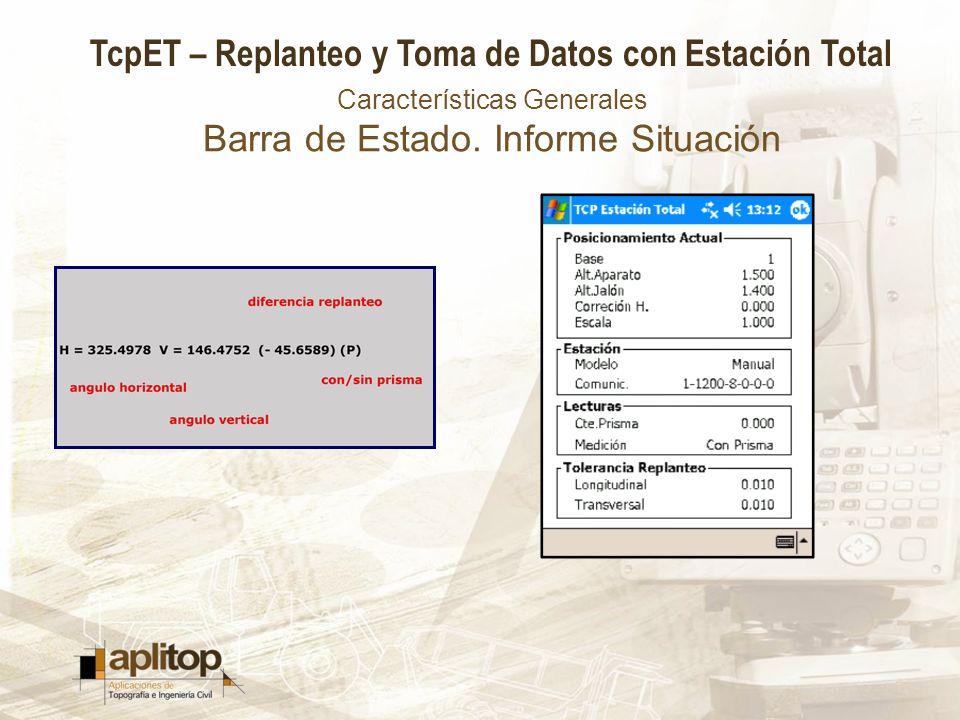 TcpET – Replanteo y Toma de Datos con Estación Total Características Generales Barra de Estado. Informe Situación