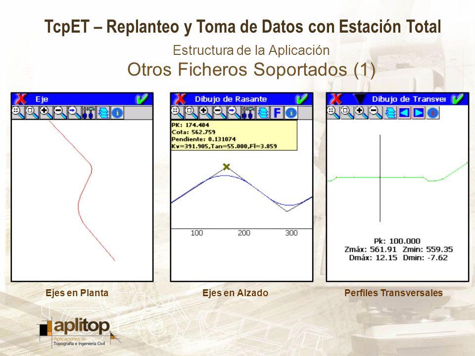 TcpET – Replanteo y Toma de Datos con Estación Total Estructura de la Aplicación Otros Ficheros Soportados (2) SuperficiesCartografía en DXFImágenes JPG, ECW ó JPEG 2000