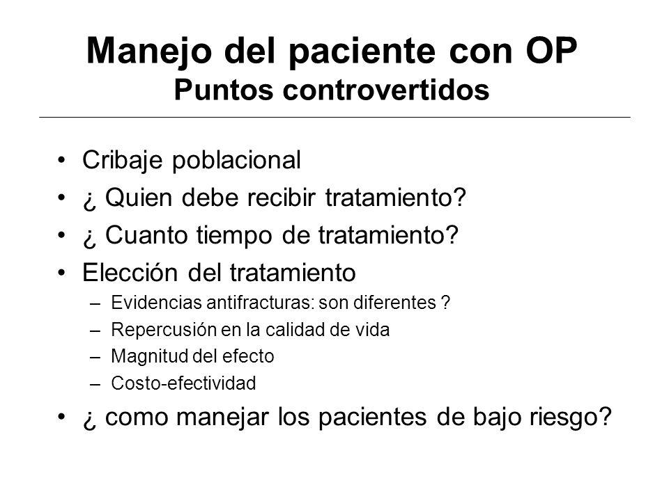 Manejo del paciente con OP Puntos controvertidos Cribaje poblacional ¿ Quien debe recibir tratamiento? ¿ Cuanto tiempo de tratamiento? Elección del tr
