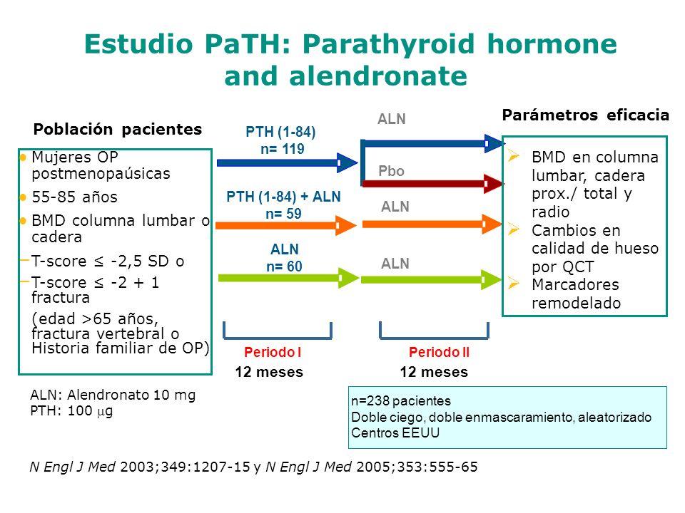 Mujeres OP postmenopaúsicas 55-85 años BMD columna lumbar o cadera – T-score -2,5 SD o – T-score -2 + 1 fractura (edad >65 años, fractura vertebral o Historia familiar de OP) 12 meses PTH (1-84) n= 119 n=238 pacientesDoble ciego, doble enmascaramiento, aleatorizadoCentros EEUU Periodo I Periodo II Estudio PaTH: Parathyroid hormone and alendronate PTH (1-84) + ALN n= 59 ALN n= 60 ALN Pbo ALN BMD en columna lumbar, cadera prox./ total y radio Cambios en calidad de hueso por QCT Marcadores remodelado Población pacientes Parámetros eficacia ALN: Alendronato 10 mg PTH: 100 g N Engl J Med 2003;349:1207-15 y N Engl J Med 2005;353:555-65