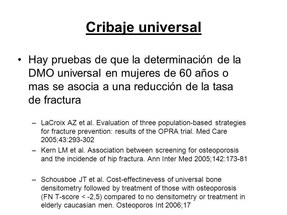 Cribaje universal Hay pruebas de que la determinación de la DMO universal en mujeres de 60 años o mas se asocia a una reducción de la tasa de fractura –LaCroix AZ et al.