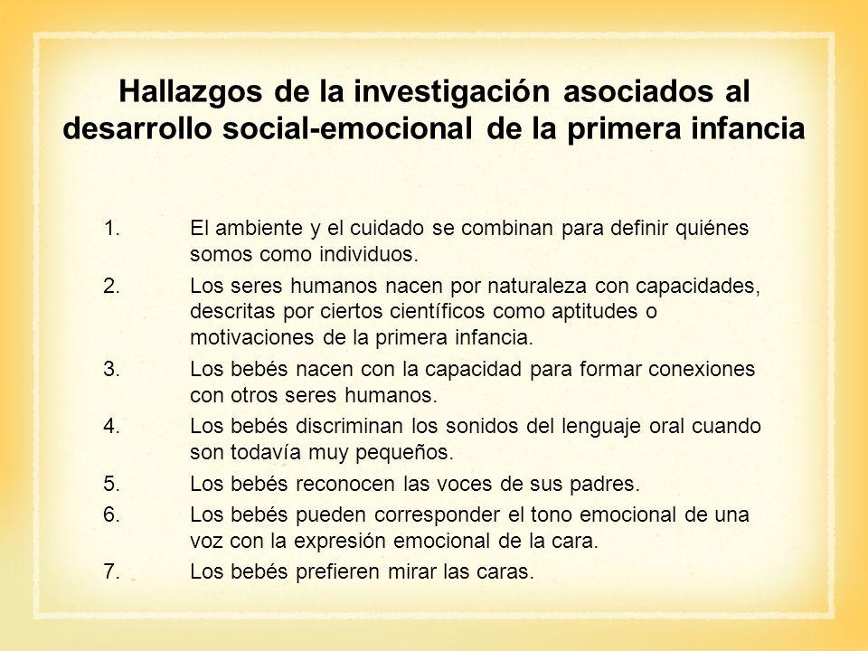 Hallazgos de la investigación asociados al desarrollo social-emocional de la primera infancia 1.El ambiente y el cuidado se combinan para definir quié