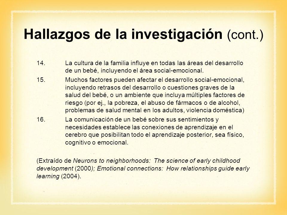 Hallazgos de la investigación (cont.) 14.La cultura de la familia influye en todas las áreas del desarrollo de un bebé, incluyendo el área social-emoc