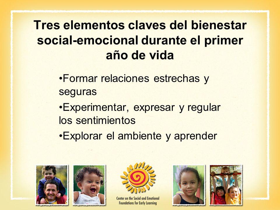 Tres elementos claves del bienestar social-emocional durante el primer año de vida Formar relaciones estrechas y seguras Experimentar, expresar y regu